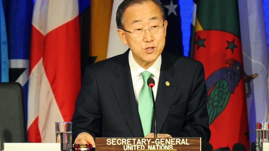 Secretário Geral da ONU Ban Ki-Moon discursa durante a cerimônia de abertura da Rio+20 para os chefes de estado