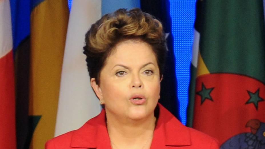 Presidente Dilma Roussef faz discurso de boas-vindas durante a cerimônia de abertura da Rio+20 para os chefes de estado