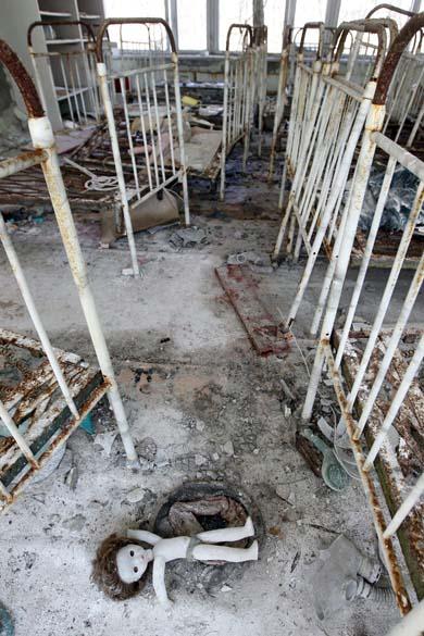 Creche abandonada na cidade de Pripyat, Ucrânia