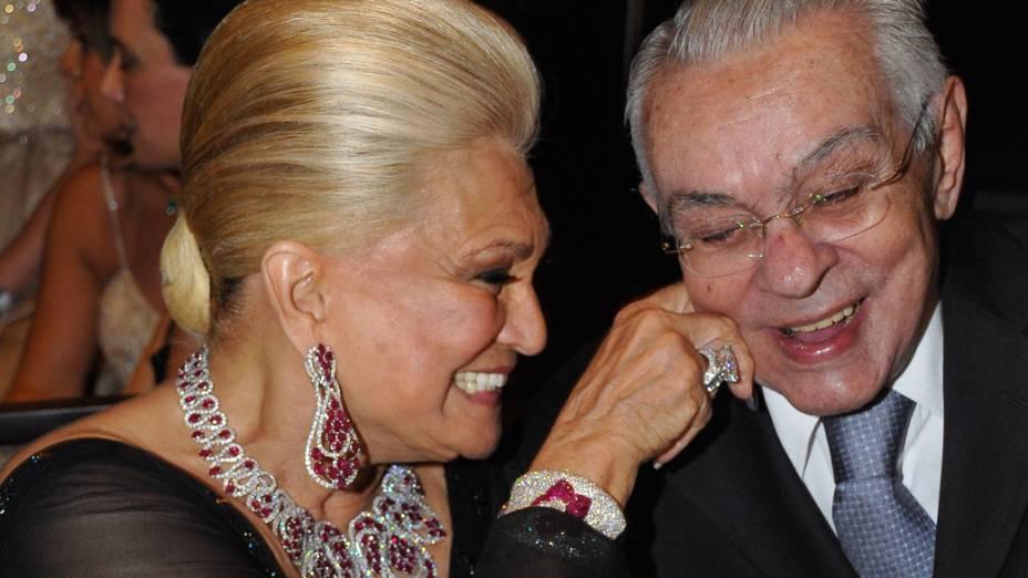 Chico Anysio e Hebe Camargo na inauguração de uma casa noturna em São Paulo, em 2009.