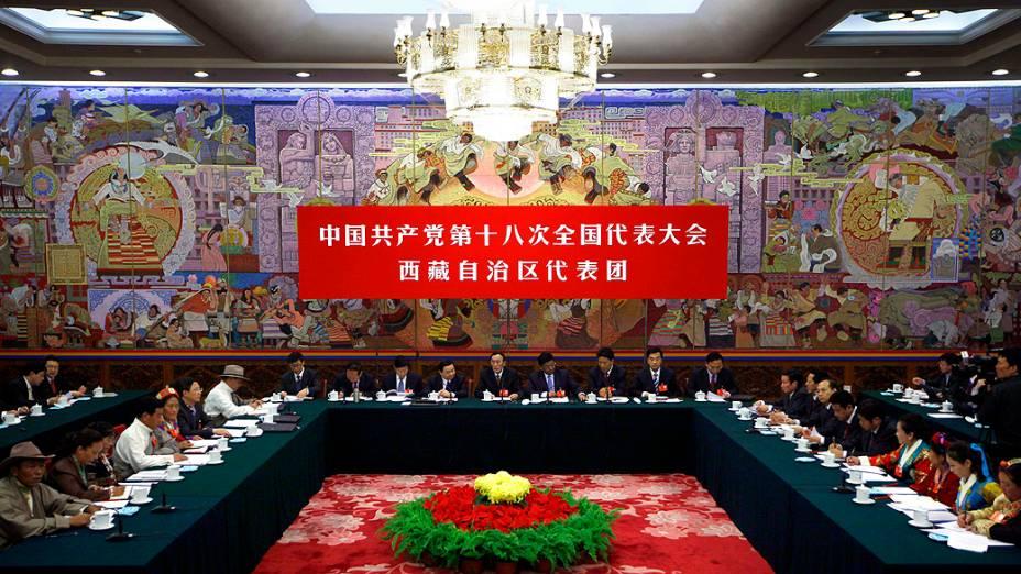 Grande Salão do Povo durante o Congresso do Partido Comunista chinês, em Pequim, em 09/11/2012