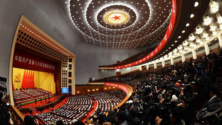 Cerimônia final no Grande Salão do Povo encerra em Pequim o 18º Congresso Nacional do Partido Comunista da China