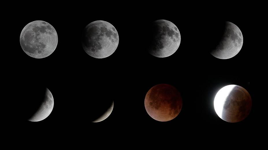 <p>Combinação de imagens mostra o eclipse lunar em San Salvador, El Salvador</p>