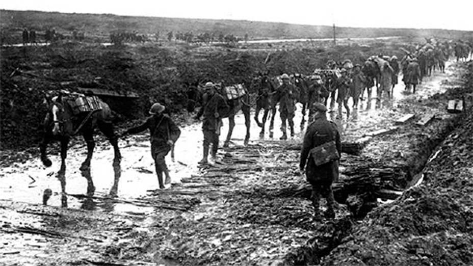 Cavalos são usados para transportar munição e rebocar a artilharia do exército francês, durante a I Guerra Mundial