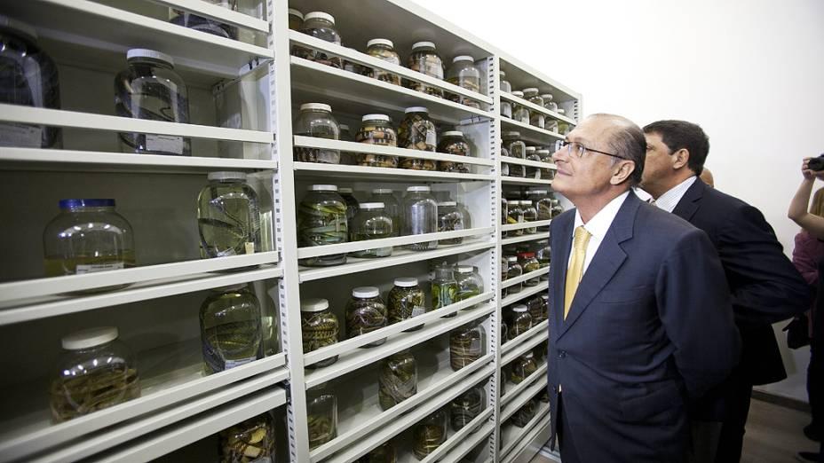 <p>Governador Geraldo Alckmin visita o laboratório de herpetologia do Instituto Butantan. O prédio de coleções zoológicas foi reinaugurado após um incêndio que destruiu parte do acervo em 2010</p>
