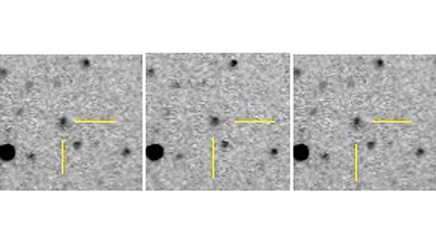 Imagens em sequência que revelaram a descoberta do C/2014 A4 SONEAR