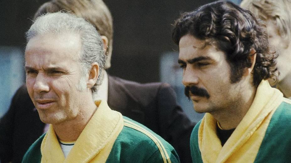 Com o técnico Zagallo, na Copa de 1974, na Alemanha
