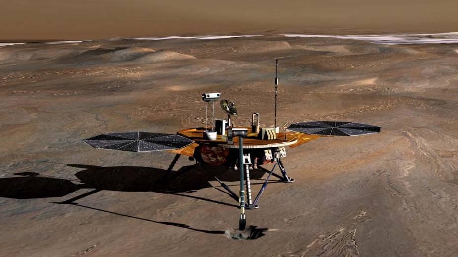 <p>Concepção artística da sonda Phoenix, missão liderada pelo cientista brasileiro Ramon de Paula, na superfície de Marte.</p>