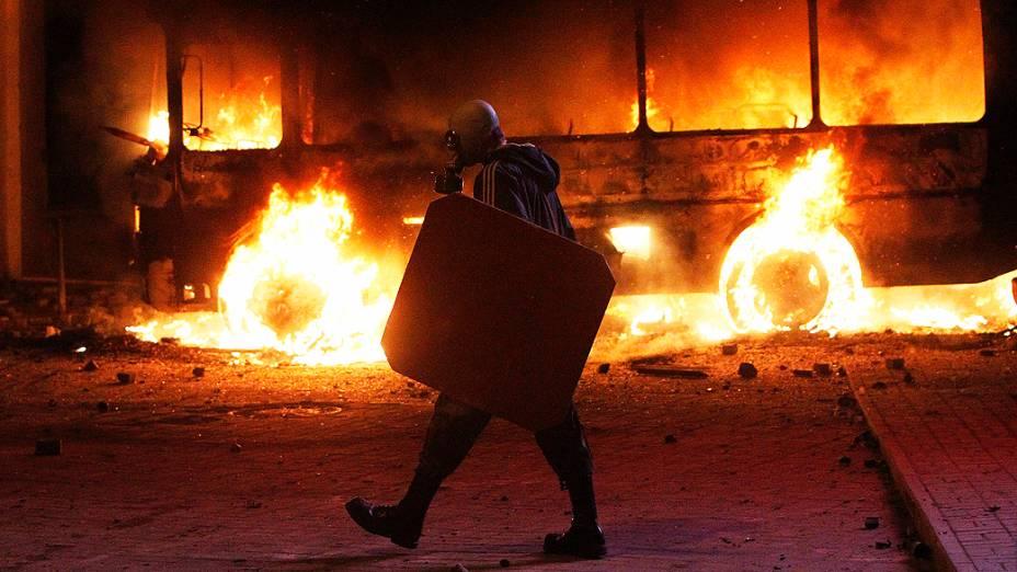Manifestantes têm confronto com polícia em protesto na Ucrânia
