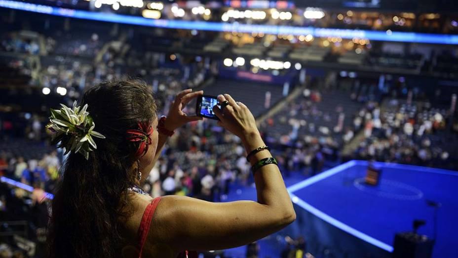 Convidada durante o primeiro dia da Convenção Nacional Democrática em Charlotte, Estados Unidos