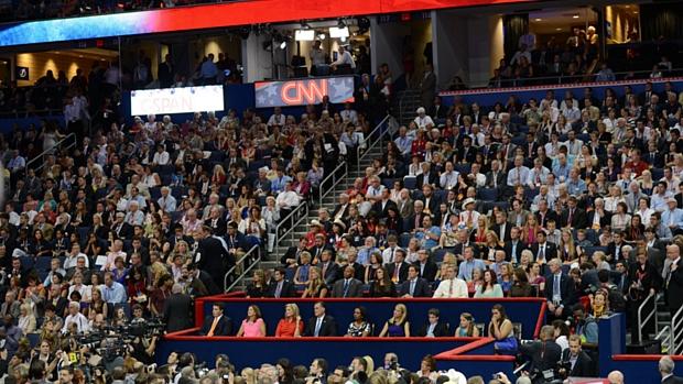 Convenção republicana acontece em um complexo esportivo na cidade de Tampa, na Flórida