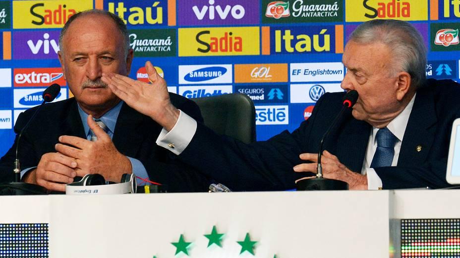 Luiz Felipe Scolari, durante a convocação da Seleção Brasileira de Futebol para a Copa do Mundo 2014, nesta quarta-feira (07)<br><br>