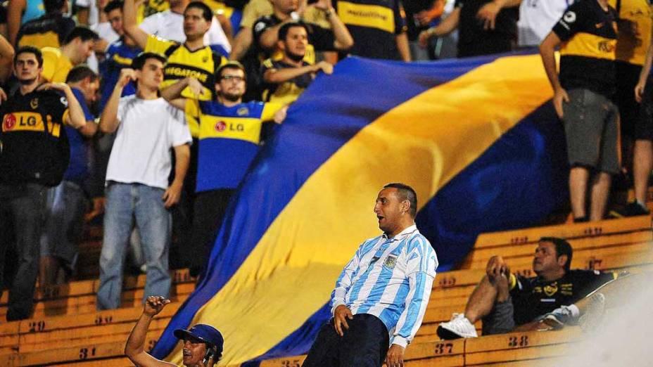Torcedores do Boca durante jogo entre Corinthians e Boca Juniors, pela copa Libertadores, no estádio Pacaembu em São Paulo