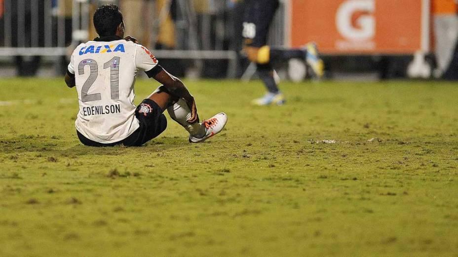 Edenilson durante jogo, entre Corinthians e Boca Juniors pela copa Libertadores no estádio Pacaembu em São Paulo