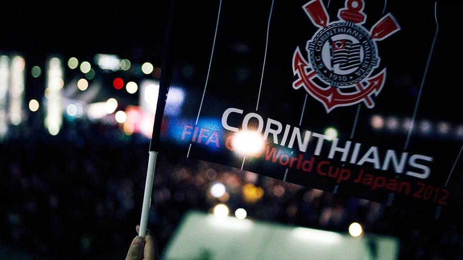 Torcedores do Corinthians momentos antes do jogo contra o Chelsea, em Yokohama