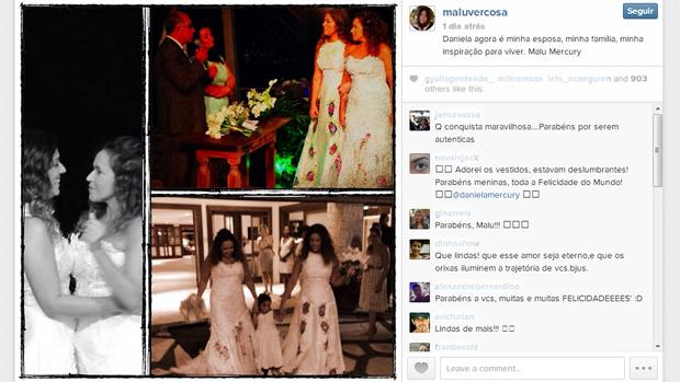 Malu Verçosa posta fotos do casamento com Daniela Mercury