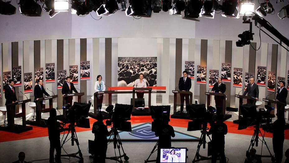 Candidatos à prefeitura de São Paulo participam de debate TV Gazeta, em 24/09/2012