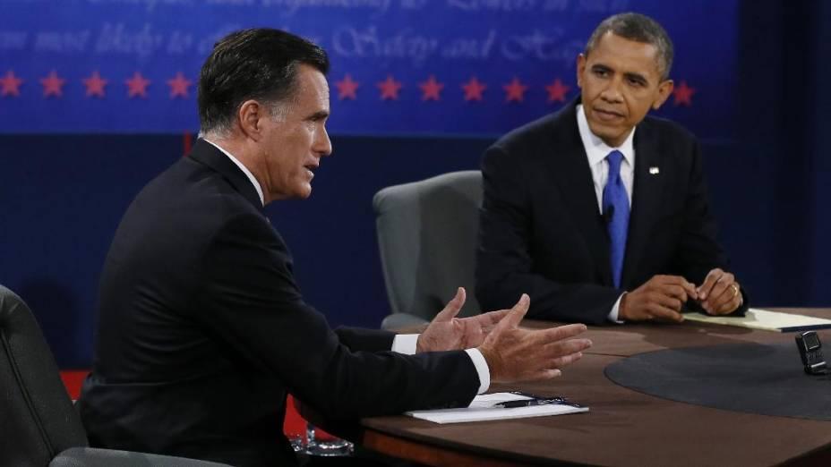 Barack Obama e Mitt Romney participam de debate nos Estados Unidos