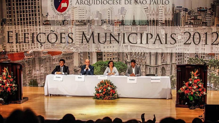 Debate promovido pela Arquidiocese de São Paulo entre os candidatos à Prefeitura de São Paulo, em 20/09/2012