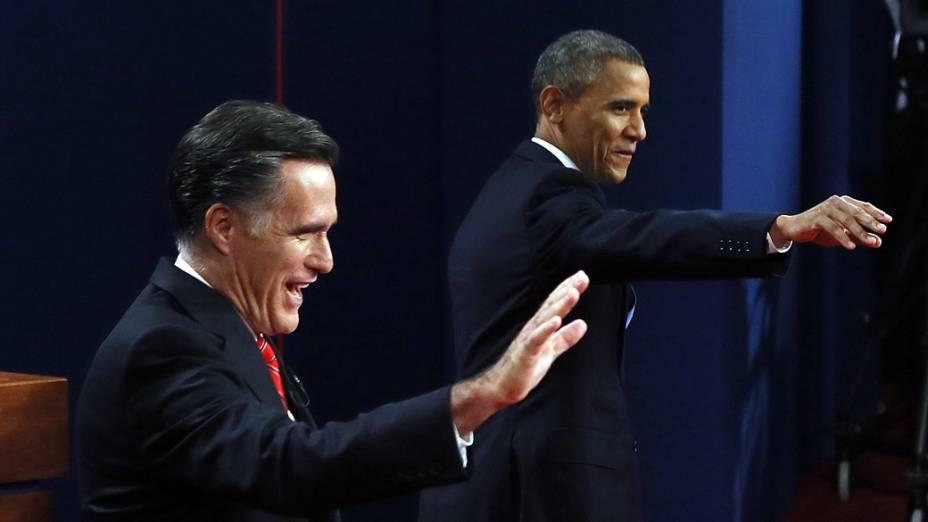 Mitt Romney e Barack Obama durante debate da disputa à Presidência dos Estados Unidos