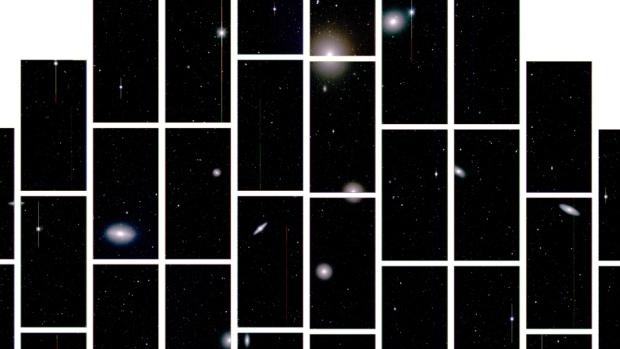 Fotografia do aglomerado de galáxias Fornax, situado a 60 milhões de quilômetros da Terra, capturada pela Câmera de Energia Escura