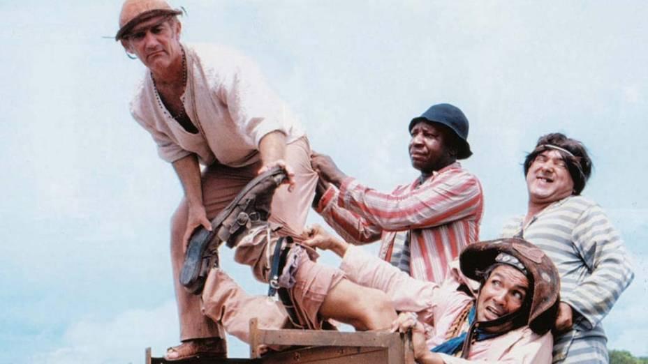 """Renato Aragão, Mussum, Zacarias e Dedé Santana no filme """"O Cangaceiro Trapalhão"""", 1983"""