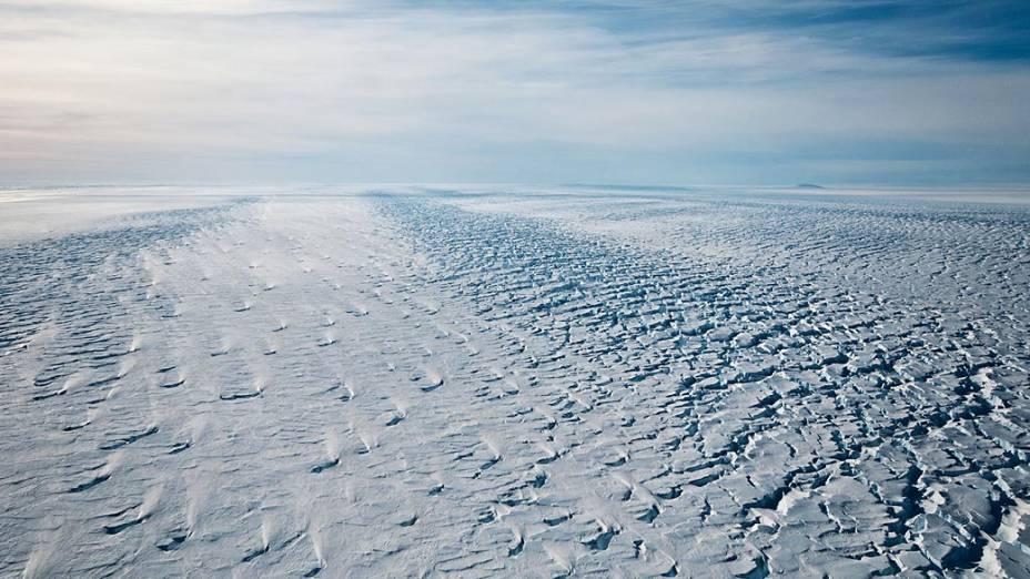 Visão do Glaciar de Pine Island, na Antártida Ocidental