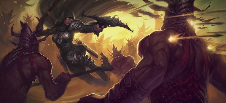 Arte criada para representar o personagem Demon Hunter em Diablo III