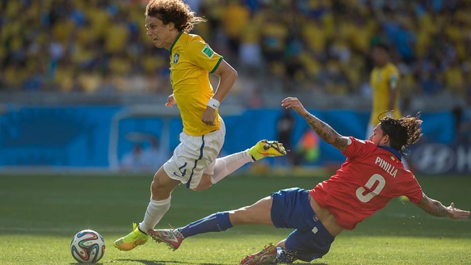 David Luiz durante o jogo contra o Chile