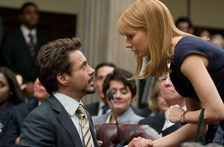 Com Gwyneth Paltrow em <em>Homem de Ferro 2</em>.