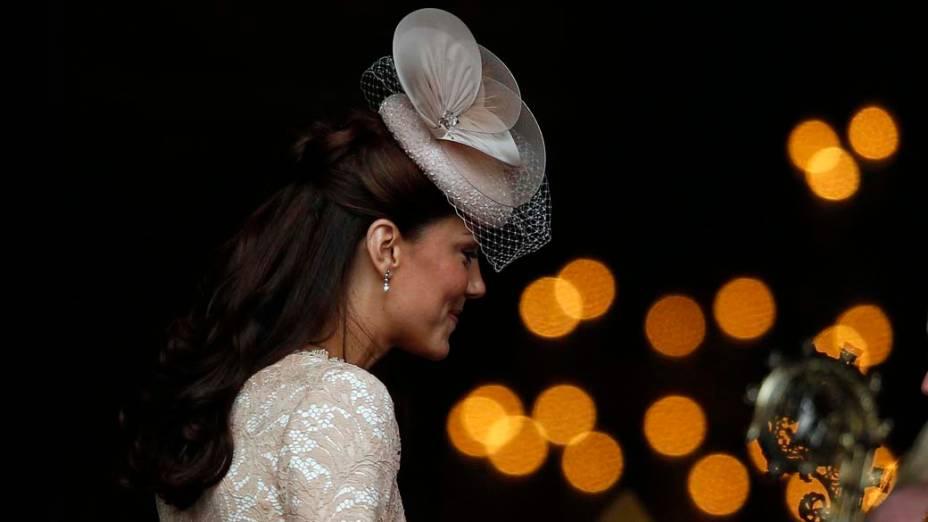 A duquesa de Cambridge, Kate Middleton, antes de ação de graças em comemoração ao jubileu de diamante da rainha em Londres