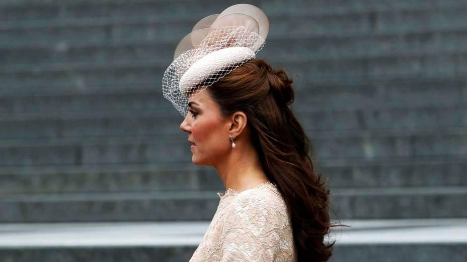 A duquesa de Cambridge, Kate Middleton, após ação de graças em comemoração ao jubileu de diamante da rainha em Londres