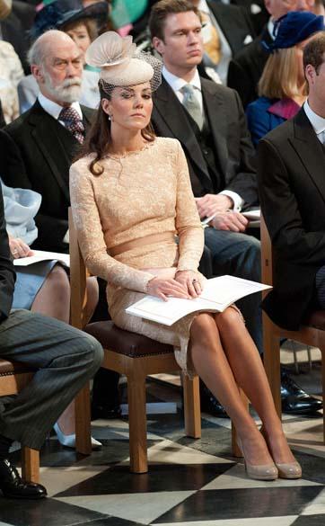 A duquesa de Cambridge, Kate Middleton, durante ação de graças em comemoração ao jubileu de diamante da rainha em Londres