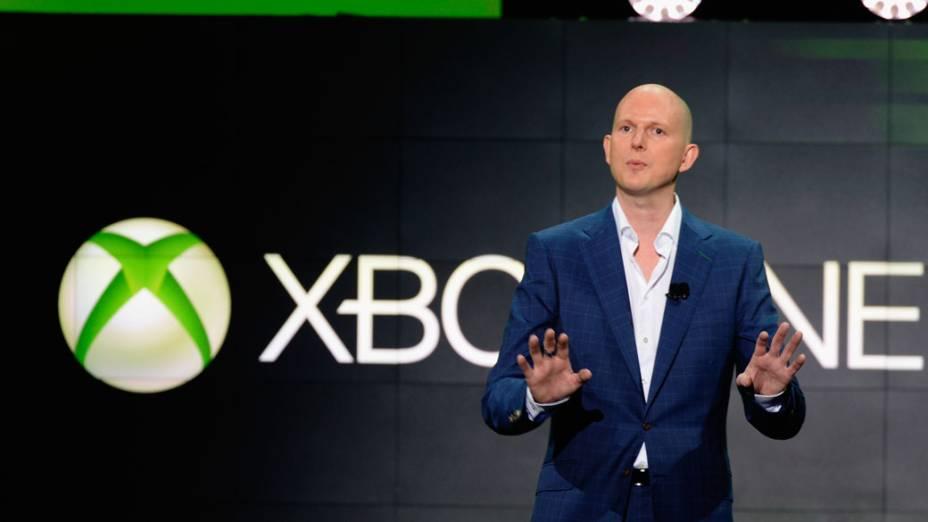 Phil Harrison, vice-presidente da Microsoft, fala sobre o novo Xbox 360 no E3, em Los Angeles