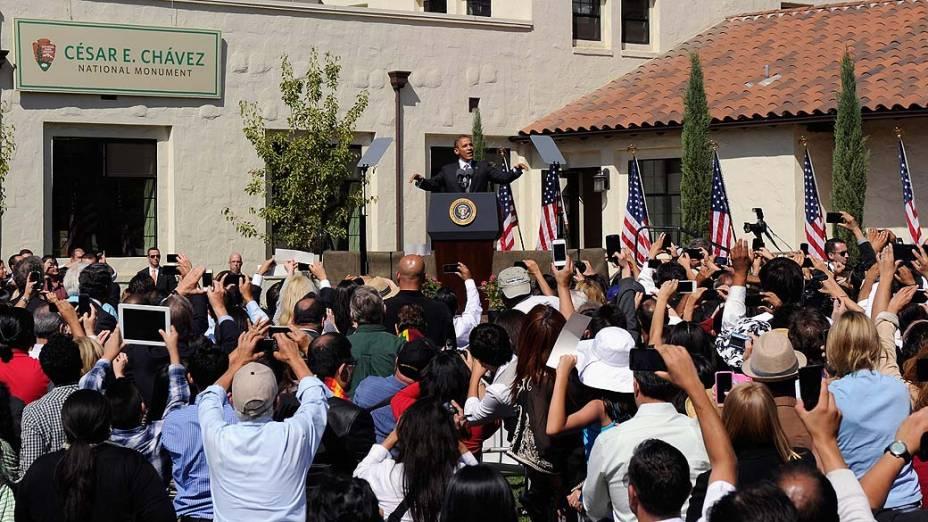Barack Obama durante campanha em Keene, na Califórnia