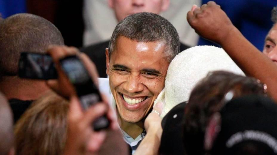 Barack Obama durante campanha em Lima, Ohio