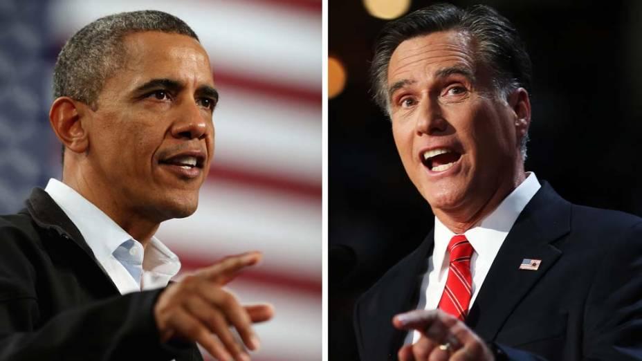 Os candidatos à presidência americana Barack Obama e Mitt Romney