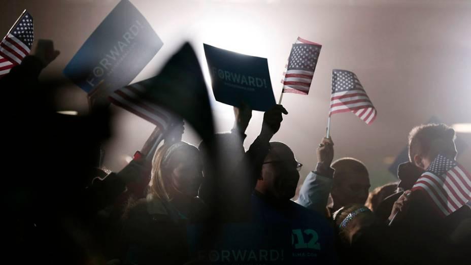 Eleitores de Barack Obama durante comício em Ohio