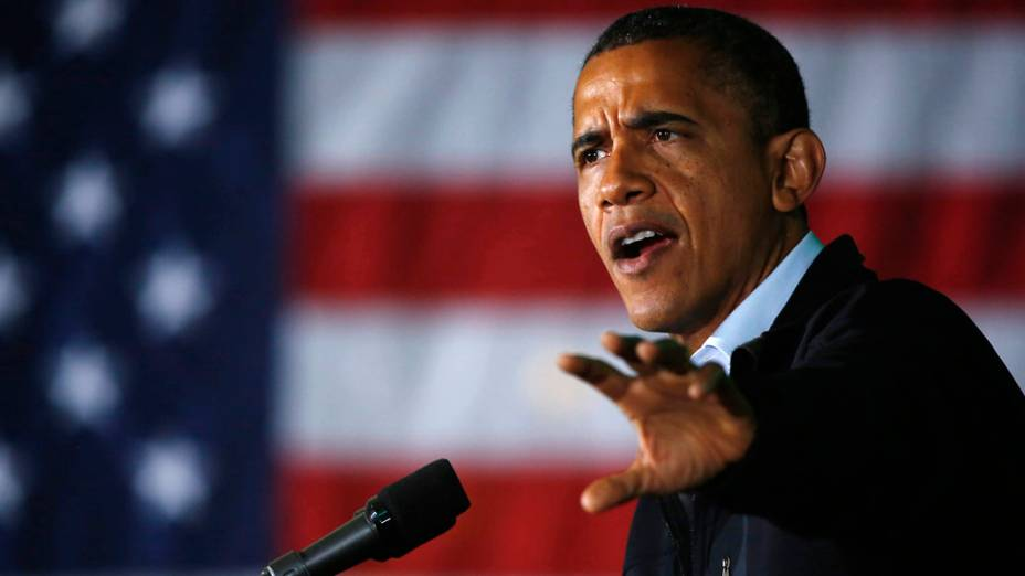 Barack Obama durante campanha em Hilliard, Ohio