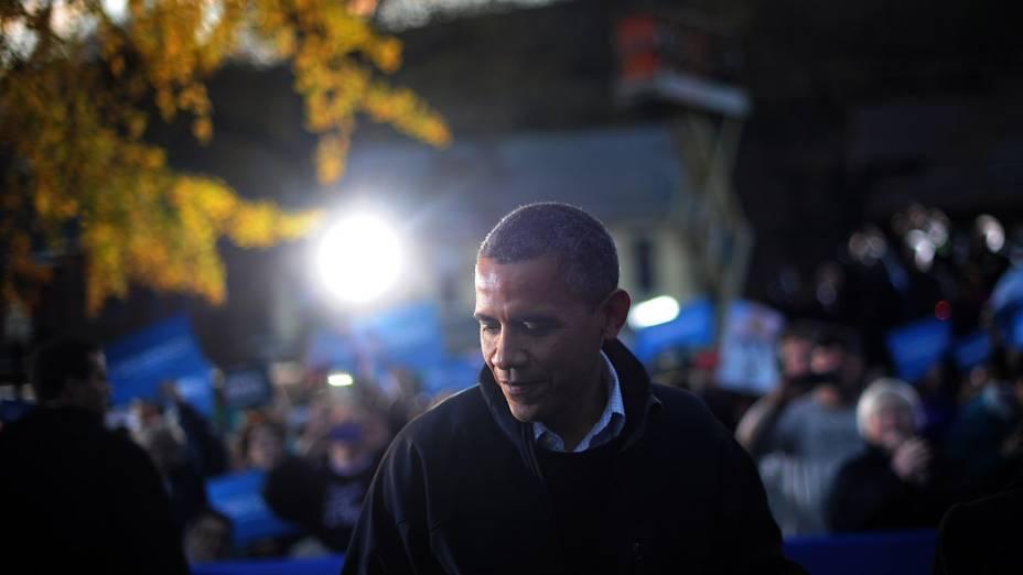 Barack Obama durante campanha em Dubuque, Iowa