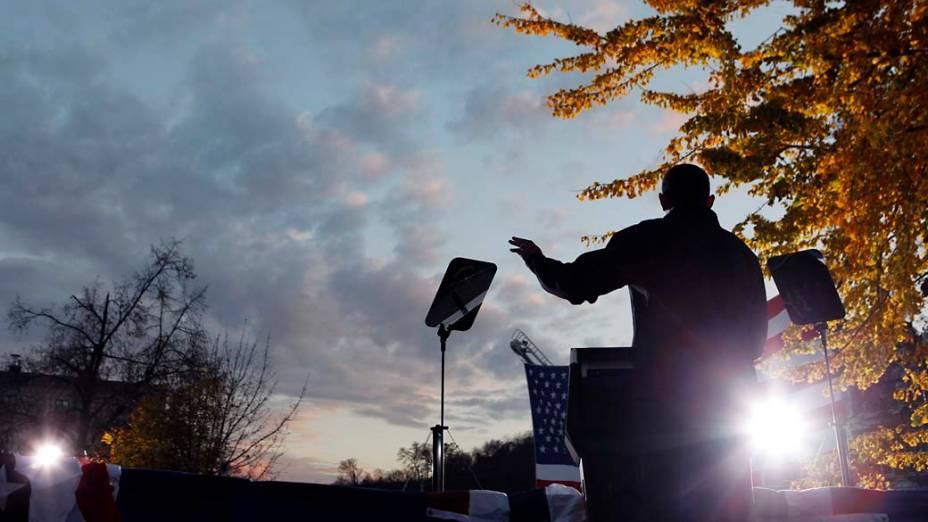 Barack Obama durante comício em Iowa