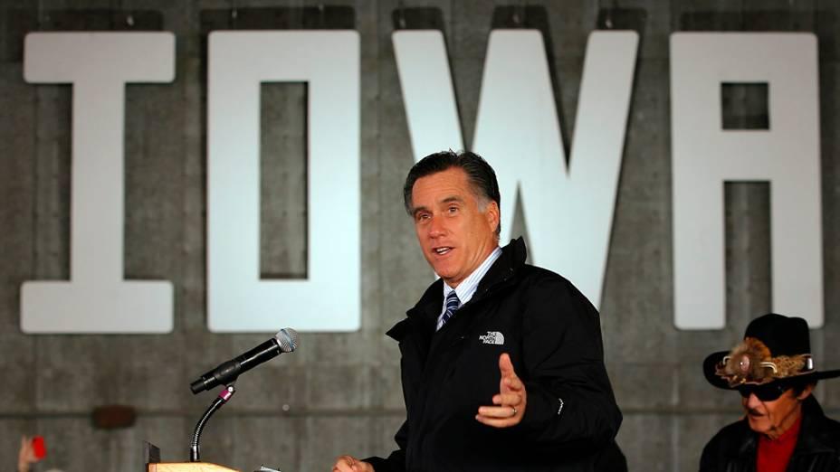 O candidato republicano Mitt Romney em Dubuque, Iowa