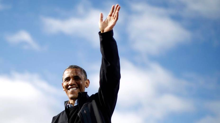 Barack Obama durante campanha em Concord, Estados Unidos