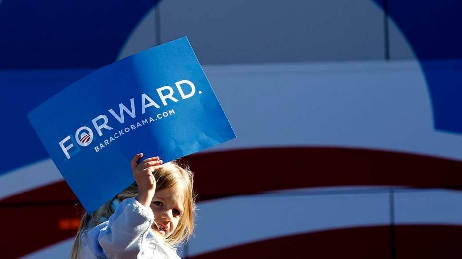 Garota durante campanha de Barack Obama em Dover