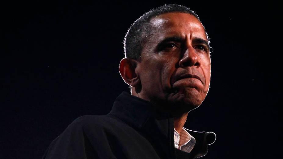 Barack Obama durante campanha em Bristow, Virginia