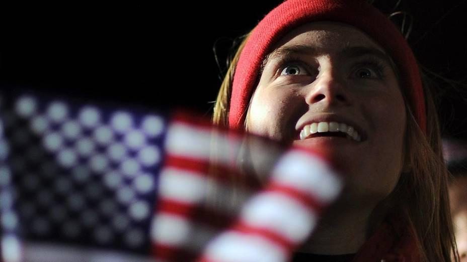 Eleitora durante comício de Mitt Romney na Pensilvânia