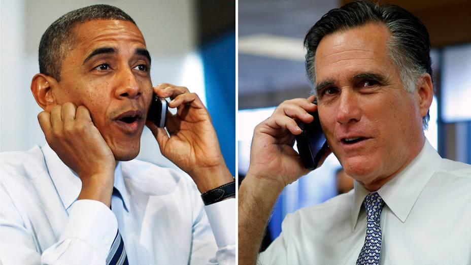 O presidente Obama e o candidato Mitt Romney, telefonam para eleitores nos Estados Unidos