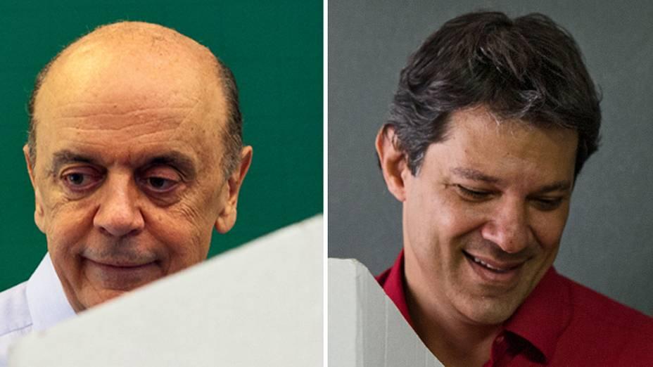 José Serra (PSDB) e Fernando Haddad (PT), candidatos à prefeitura de São Paulo