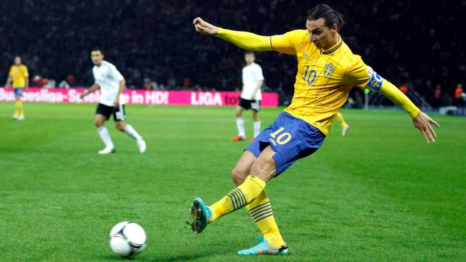O suéco Zlatan Ibrahimovic durante partida contra a Alemanha, nas eliminatórias europeias para a Copa de 2014