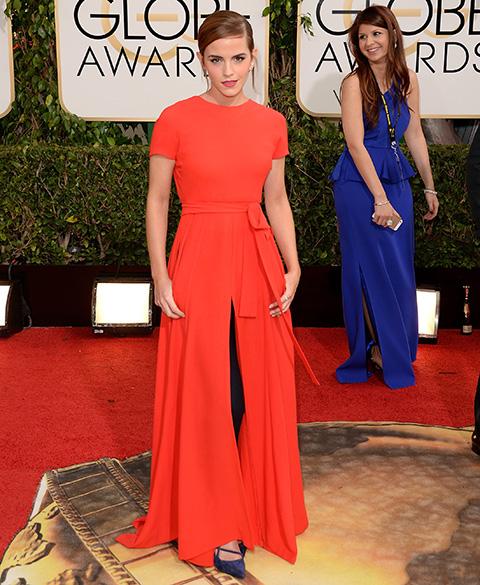 A atriz Emma Watson durante o Globo de Ouro, na Califórnia